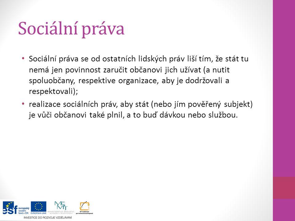 Sociální práva Hlavními mezinárodně uznávanými sociálními právy jsou ta zakotvená v hlavě čtvrté Listiny základních práv a svobod, vyhlášené součástí ústavního pořádku České republiky.