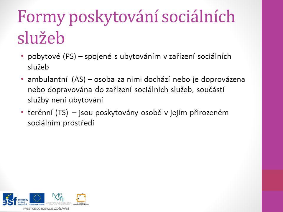 Formy poskytování sociálních služeb pobytové (PS) – spojené s ubytováním v zařízení sociálních služeb ambulantní (AS) – osoba za nimi dochází nebo je