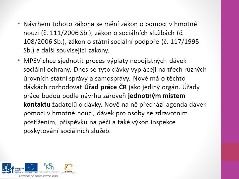 Návrhem tohoto zákona se mění zákon o pomoci v hmotné nouzi (č. 111/2006 Sb.), zákon o sociálních službách (č. 108/2006 Sb.), zákon o státní sociální