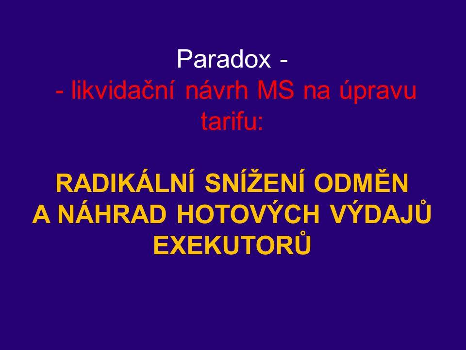 Paradox - - likvidační návrh MS na úpravu tarifu: RADIKÁLNÍ SNÍŽENÍ ODMĚN A NÁHRAD HOTOVÝCH VÝDAJŮ EXEKUTORŮ