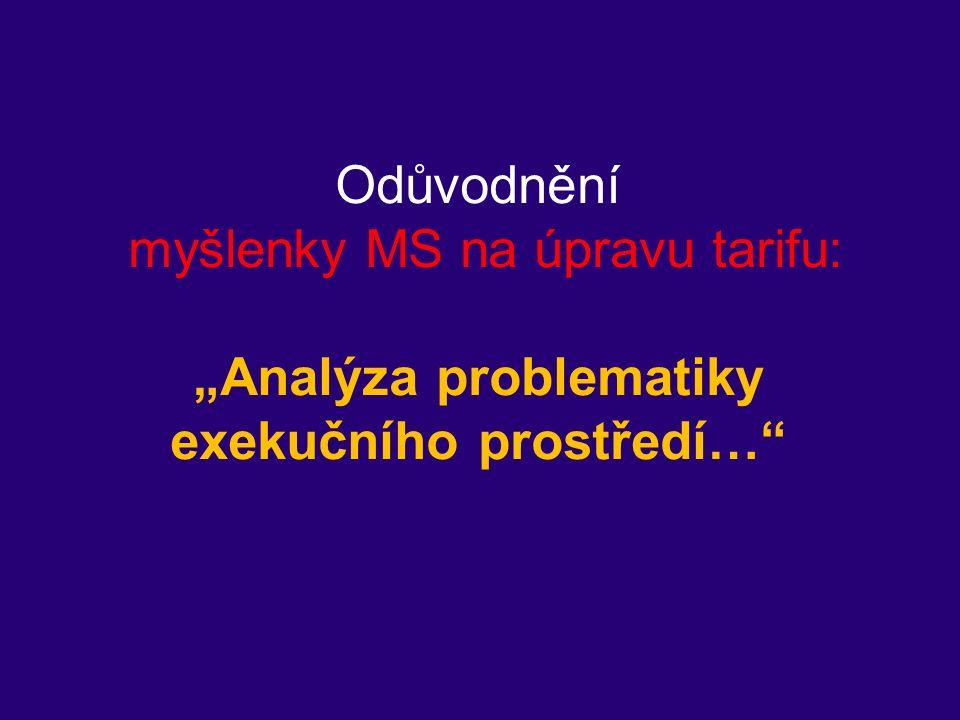 """Odůvodnění myšlenky MS na úpravu tarifu: """"Analýza problematiky exekučního prostředí…"""