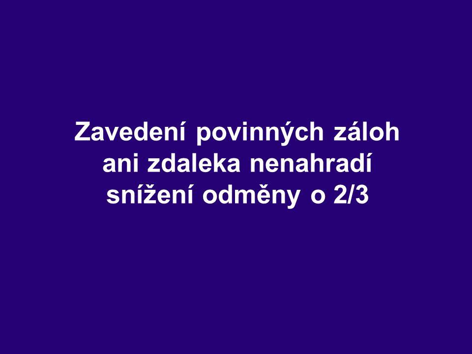 Zavedení povinných záloh ani zdaleka nenahradí snížení odměny o 2/3