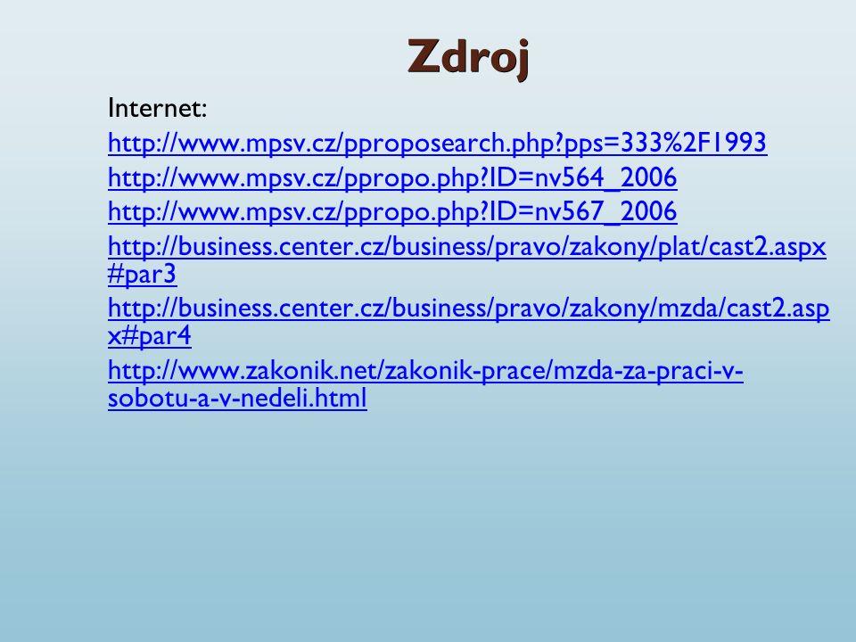 Zdroj Internet: http://www.mpsv.cz/pproposearch.php pps=333%2F1993 http://www.mpsv.cz/ppropo.php ID=nv564_2006 http://www.mpsv.cz/ppropo.php ID=nv567_2006 http://business.center.cz/business/pravo/zakony/plat/cast2.aspx #par3 http://business.center.cz/business/pravo/zakony/mzda/cast2.asp x#par4 http://www.zakonik.net/zakonik-prace/mzda-za-praci-v- sobotu-a-v-nedeli.html