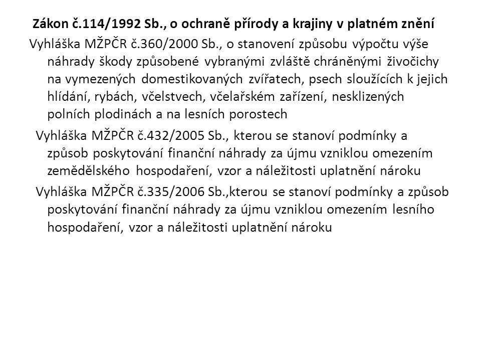 Zákon č.114/1992 Sb., o ochraně přírody a krajiny v platném znění Vyhláška MŽPČR č.360/2000 Sb., o stanovení způsobu výpočtu výše náhrady škody způsobené vybranými zvláště chráněnými živočichy na vymezených domestikovaných zvířatech, psech sloužících k jejich hlídání, rybách, včelstvech, včelařském zařízení, nesklizených polních plodinách a na lesních porostech Vyhláška MŽPČR č.432/2005 Sb., kterou se stanoví podmínky a způsob poskytování finanční náhrady za újmu vzniklou omezením zemědělského hospodaření, vzor a náležitosti uplatnění nároku Vyhláška MŽPČR č.335/2006 Sb.,kterou se stanoví podmínky a způsob poskytování finanční náhrady za újmu vzniklou omezením lesního hospodaření, vzor a náležitosti uplatnění nároku