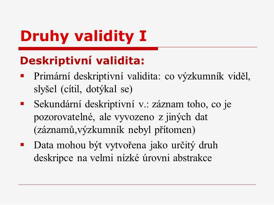 Druhy validity I Deskriptivní validita:  Primární deskriptivní validita: co výzkumník viděl, slyšel (cítil, dotýkal se)  Sekundární deskriptivní v.: záznam toho, co je pozorovatelné, ale vyvozeno z jiných dat (záznamů,výzkumník nebyl přítomen)  Data mohou být vytvořena jako určitý druh deskripce na velmi nízké úrovni abstrakce