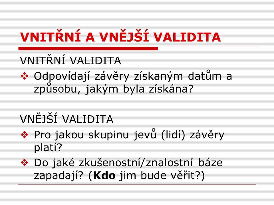 Druhy validity II a.ironická validita b.paralogická validita c.rhizomatická validita d.včleněná validita e.investigativní validita f.komunikativní (dialogická) validita g.akční validita