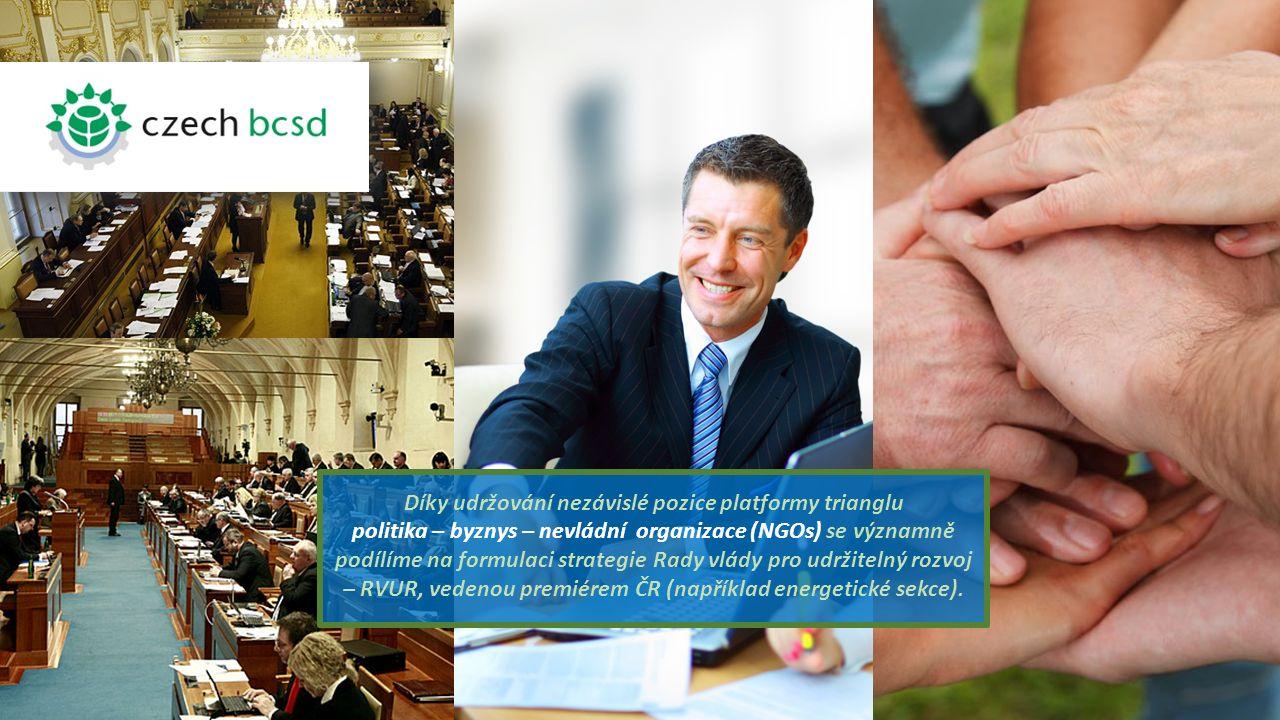 Díky udržování nezávislé pozice platformy trianglu politika – byznys – nevládní organizace (NGOs) se významně podílíme na formulaci strategie Rady vlády pro udržitelný rozvoj – RVUR, vedenou premiérem ČR (například energetické sekce).
