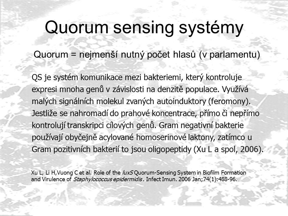 Quorum sensing systémy Quorum = nejmenší nutný počet hlasů (v parlamentu) QS je systém komunikace mezi bakteriemi, který kontroluje expresi mnoha genů v závislosti na denzitě populace.
