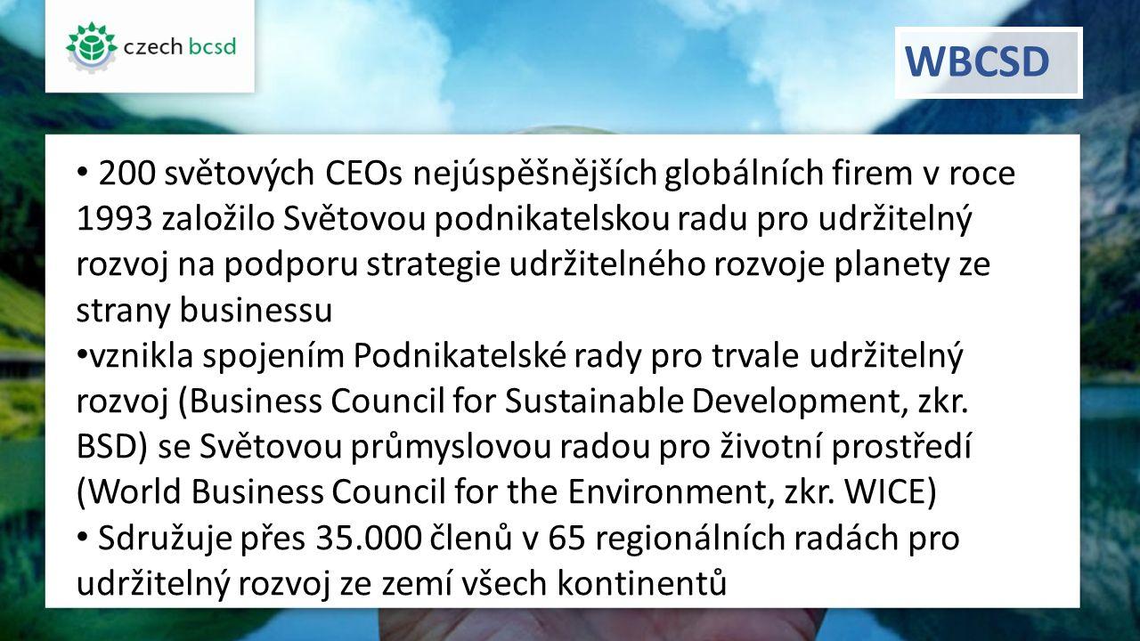 WBCSD 200 světových CEOs nejúspěšnějších globálních firem v roce 1993 založilo Světovou podnikatelskou radu pro udržitelný rozvoj na podporu strategie udržitelného rozvoje planety ze strany businessu vznikla spojením Podnikatelské rady pro trvale udržitelný rozvoj (Business Council for Sustainable Development, zkr.