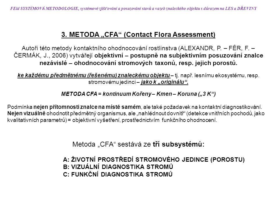 """3. METODA """"CFA"""" (Contact Flora Assessment) Autoři této metody kontaktního ohodnocování rostlinstva (ALEXANDR, P. – FÉR, F. – ČERMÁK, J., 2006) vytváře"""