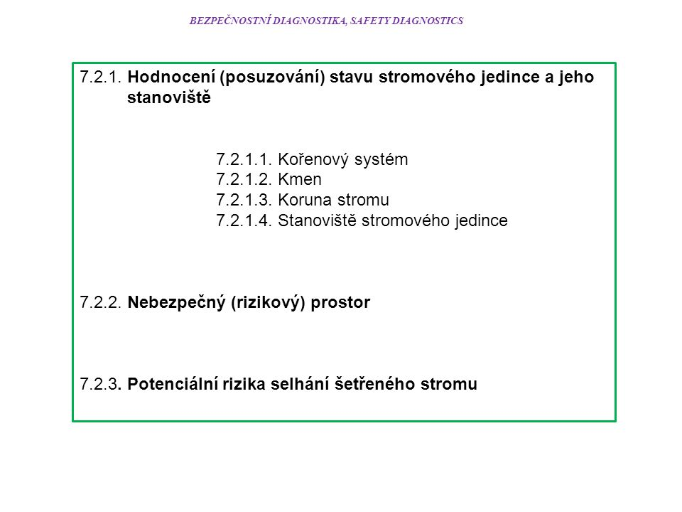 BEZPEČNOSTNÍ DIAGNOSTIKA, SAFETY DIAGNOSTICS 7.2.1.