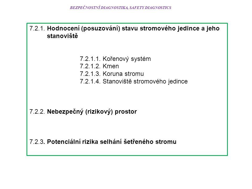 BEZPEČNOSTNÍ DIAGNOSTIKA, SAFETY DIAGNOSTICS 7.2.1. Hodnocení (posuzování) stavu stromového jedince a jeho stanoviště 7.2.1.1. Kořenový systém 7.2.1.2