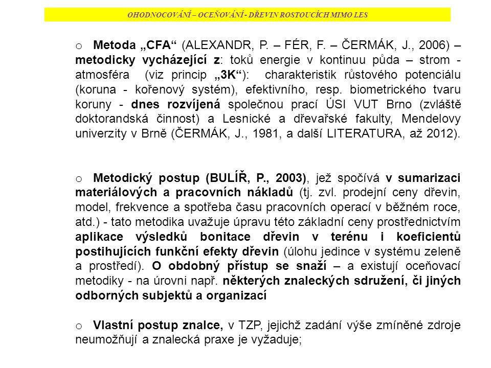 """OHODNOCOVÁNÍ – OCEŇOVÁNÍ - DŘEVIN ROSTOUCÍCH MIMO LES o Metoda """"CFA (ALEXANDR, P."""