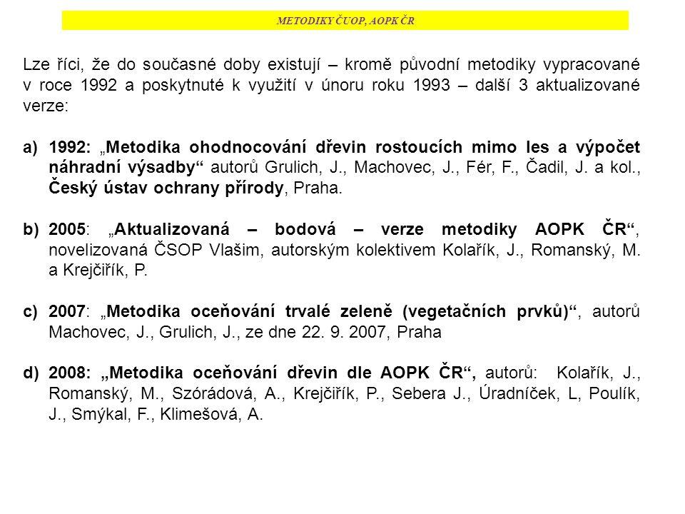 """METODIKY ČUOP, AOPK ČR Lze říci, že do současné doby existují – kromě původní metodiky vypracované v roce 1992 a poskytnuté k využití v únoru roku 1993 – další 3 aktualizované verze: a)1992: """"Metodika ohodnocování dřevin rostoucích mimo les a výpočet náhradní výsadby autorů Grulich, J., Machovec, J., Fér, F., Čadil, J."""
