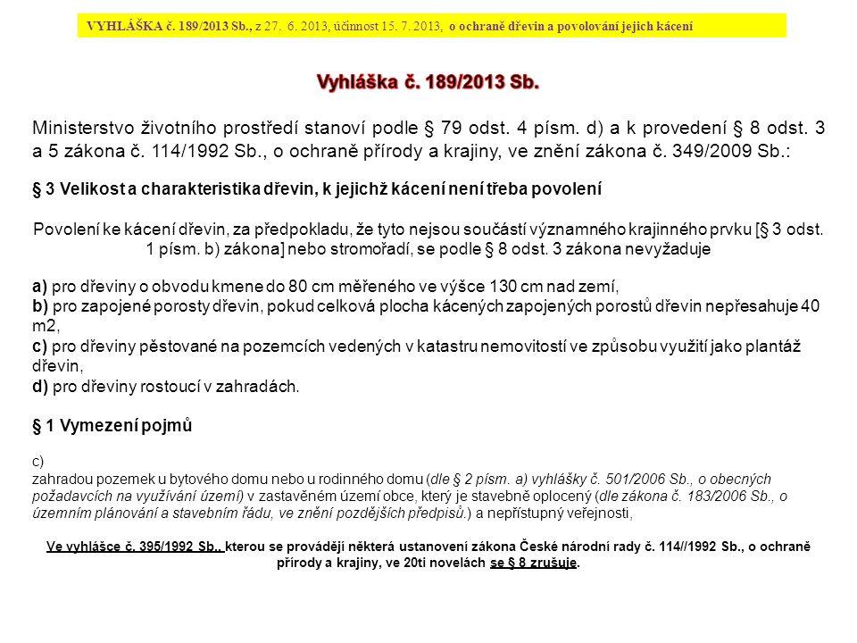 VYHLÁŠKA č. 189/2013 Sb., z 27. 6. 2013, účinnost 15.