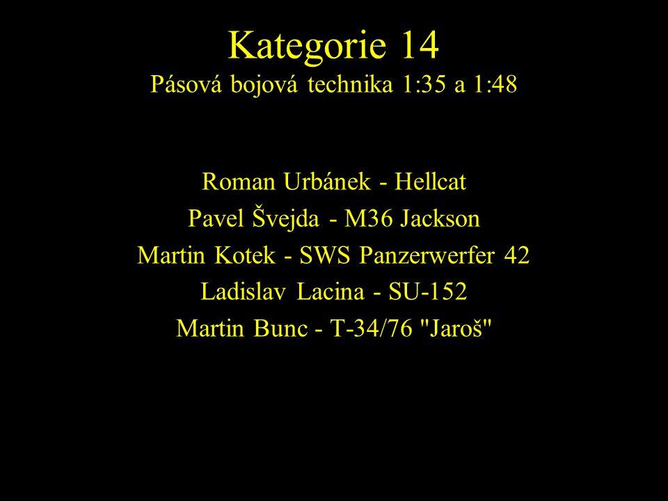 Roman Urbánek - Hellcat Pavel Švejda - M36 Jackson Martin Kotek - SWS Panzerwerfer 42 Ladislav Lacina - SU-152 Martin Bunc - T-34/76