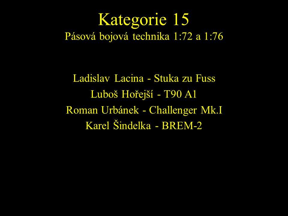 Ladislav Lacina - Stuka zu Fuss Luboš Hořejší - T90 A1 Roman Urbánek - Challenger Mk.I Karel Šindelka - BREM-2