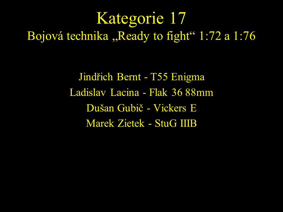 Jindřich Bernt - T55 Enigma Ladislav Lacina - Flak 36 88mm Dušan Gubič - Vickers E Marek Zietek - StuG IIIB