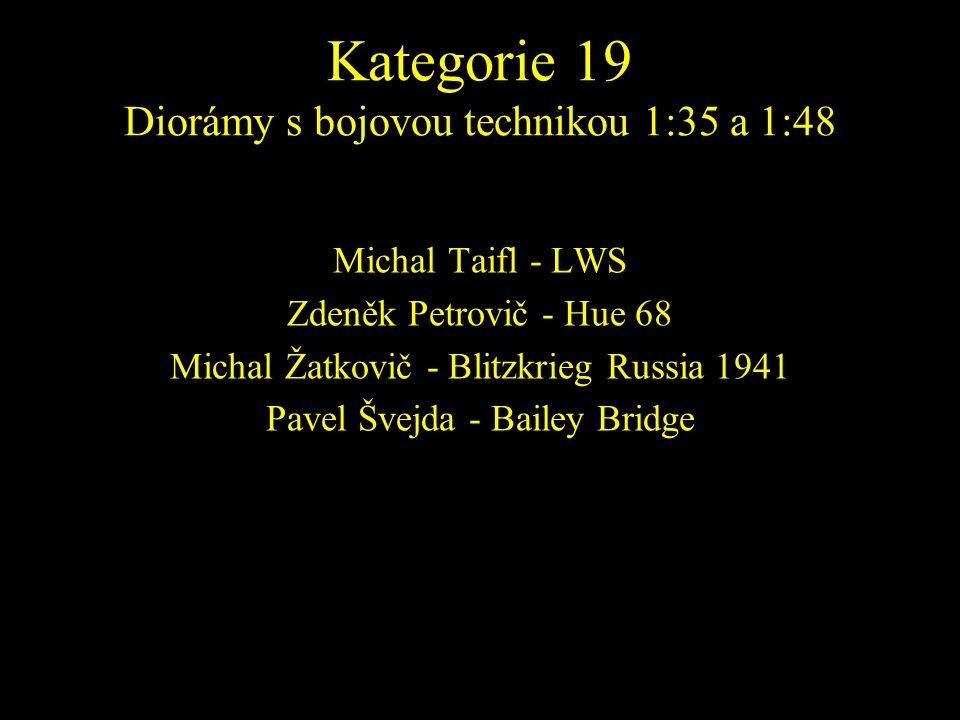 Michal Taifl - LWS Zdeněk Petrovič - Hue 68 Michal Žatkovič - Blitzkrieg Russia 1941 Pavel Švejda - Bailey Bridge