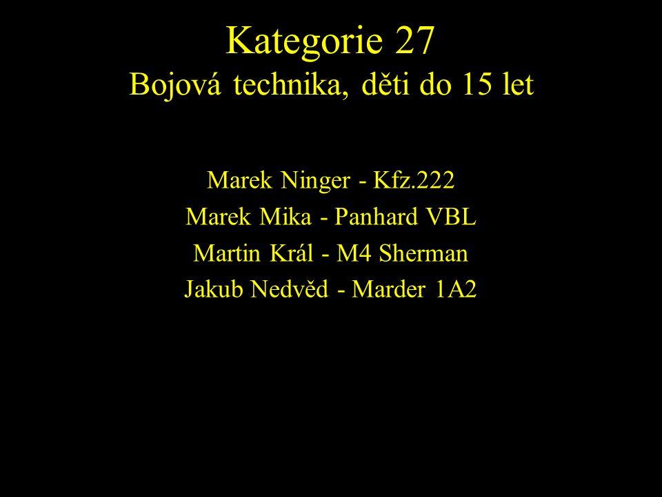 Marek Ninger - Kfz.222 Marek Mika - Panhard VBL Martin Král - M4 Sherman Jakub Nedvěd - Marder 1A2