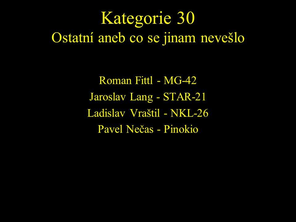 Roman Fittl - MG-42 Jaroslav Lang - STAR-21 Ladislav Vraštil - NKL-26 Pavel Nečas - Pinokio