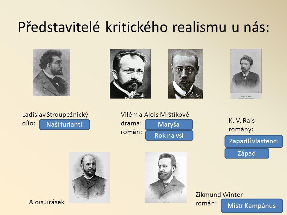 Představitelé kritického realismu u nás: Ladislav Stroupežnický dílo: Vilém a Alois Mrštíkové drama: román: K.