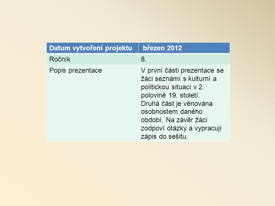 Datum vytvoření projektu březen 2012 Ročník8.