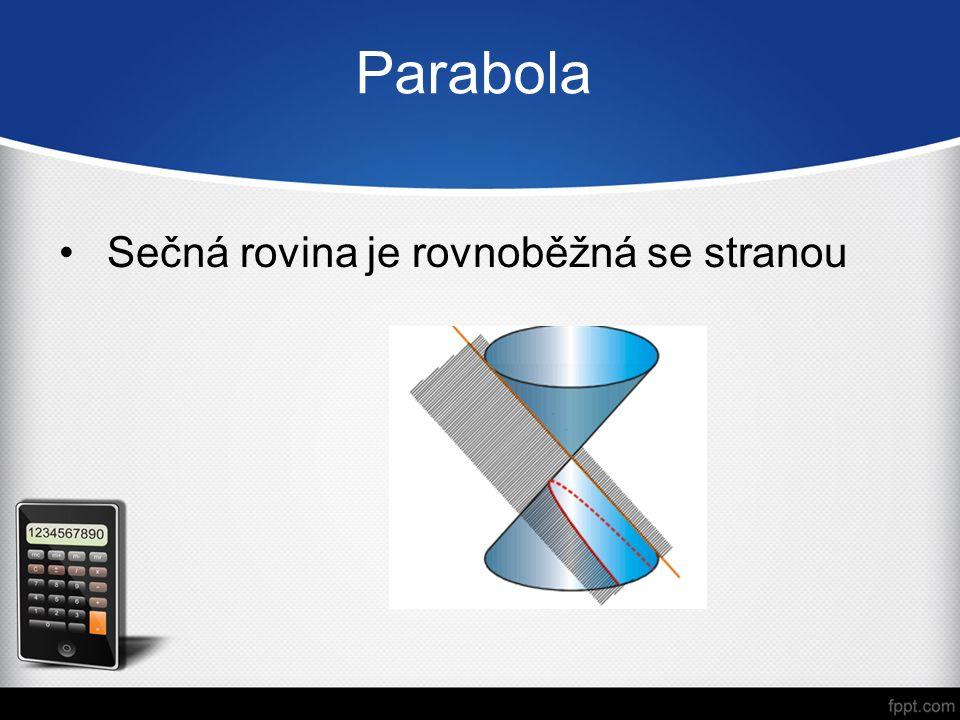 Dělení podle charakteristik Středové kuželosečky –kružnice –elipsa –hyperbola Nestředová kuželosečka –parabola