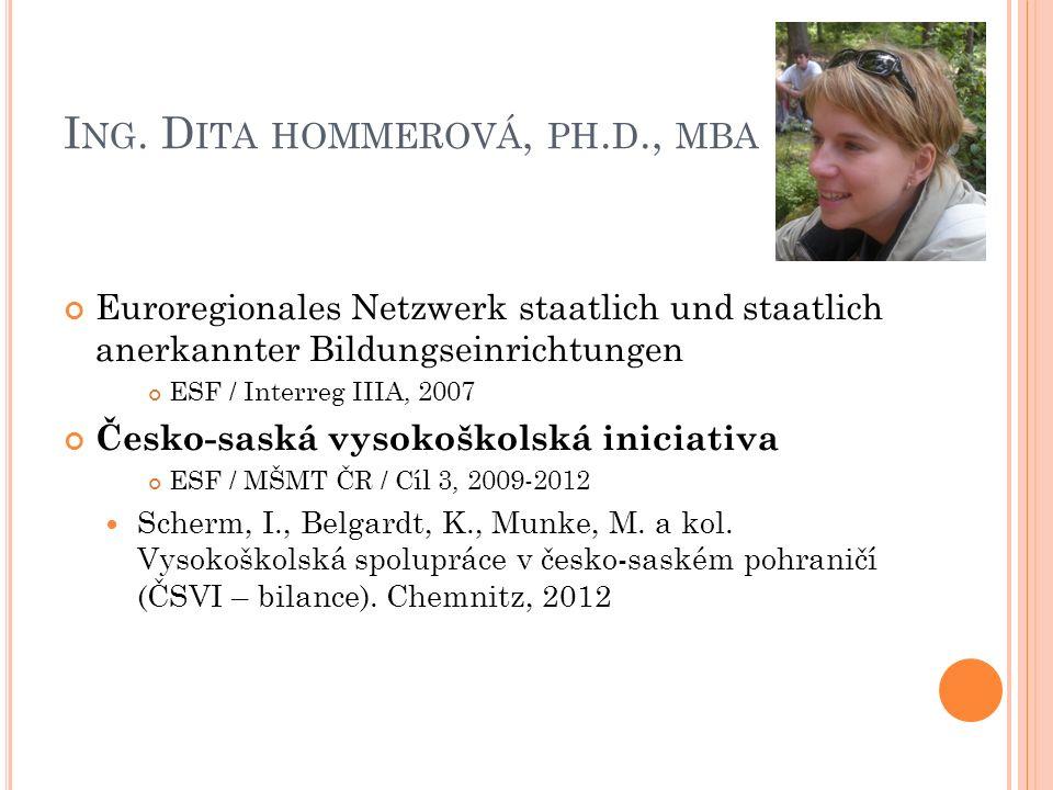 I NG. D ITA HOMMEROVÁ, PH. D., MBA Euroregionales Netzwerk staatlich und staatlich anerkannter Bildungseinrichtungen ESF / Interreg IIIA, 2007 Česko-s