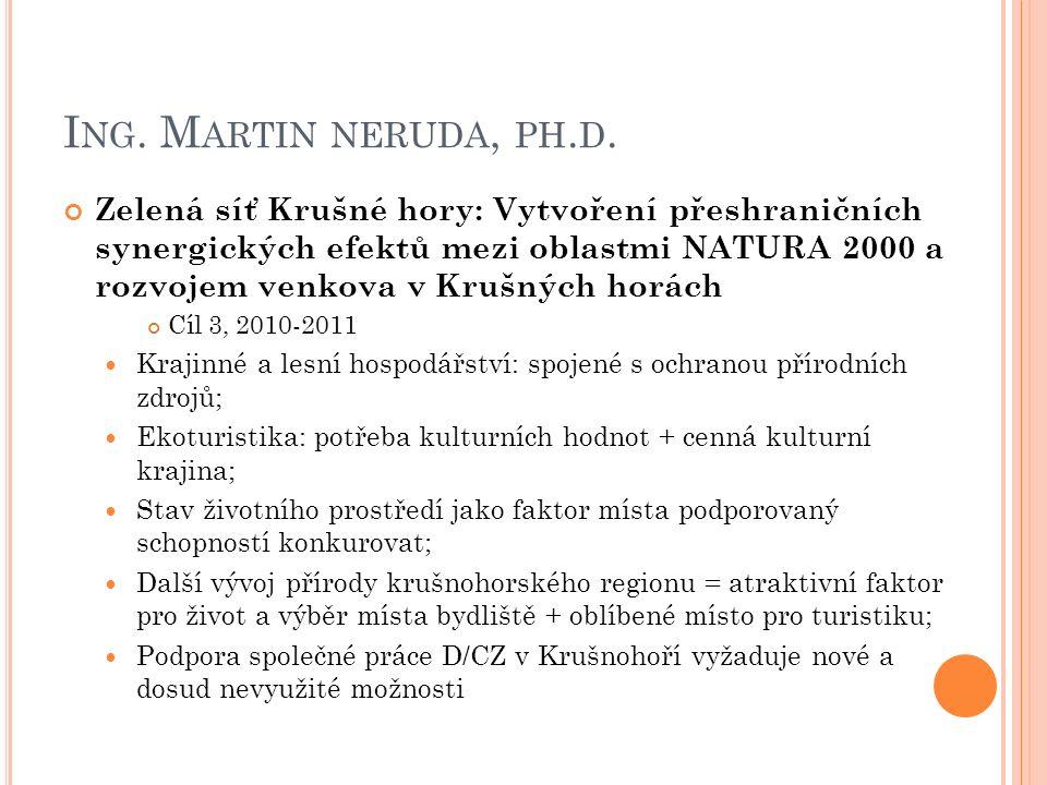 I NG. M ARTIN NERUDA, PH. D. Zelená síť Krušné hory: Vytvoření přeshraničních synergických efektů mezi oblastmi NATURA 2000 a rozvojem venkova v Krušn