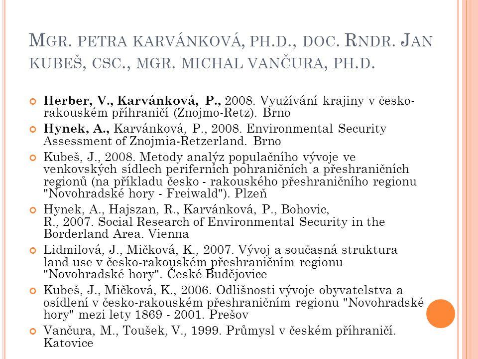 M GR. PETRA KARVÁNKOVÁ, PH. D., DOC. R NDR. J AN KUBEŠ, CSC., MGR. MICHAL VANČURA, PH. D. Herber, V., Karvánková, P., 2008. Využívání krajiny v česko-