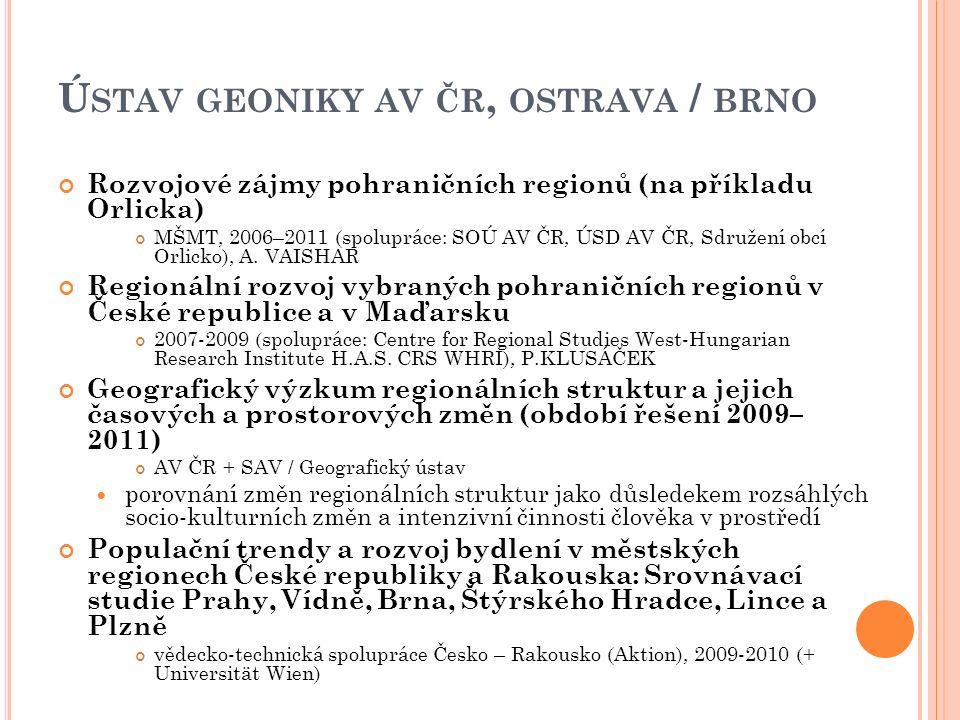 Ú STAV GEONIKY AV ČR, OSTRAVA / BRNO Rozvojové zájmy pohraničních regionů (na příkladu Orlicka) MŠMT, 2006–2011 (spolupráce: SOÚ AV ČR, ÚSD AV ČR, Sdružení obcí Orlicko), A.