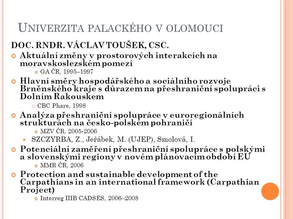 U NIVERZITA PALACKÉHO V OLOMOUCI DOC. RNDR. VÁCLAV TOUŠEK, CSC. Aktuální změny v prostorových interakcích na moravskoslezském pomezí GA ČR, 1995–1997