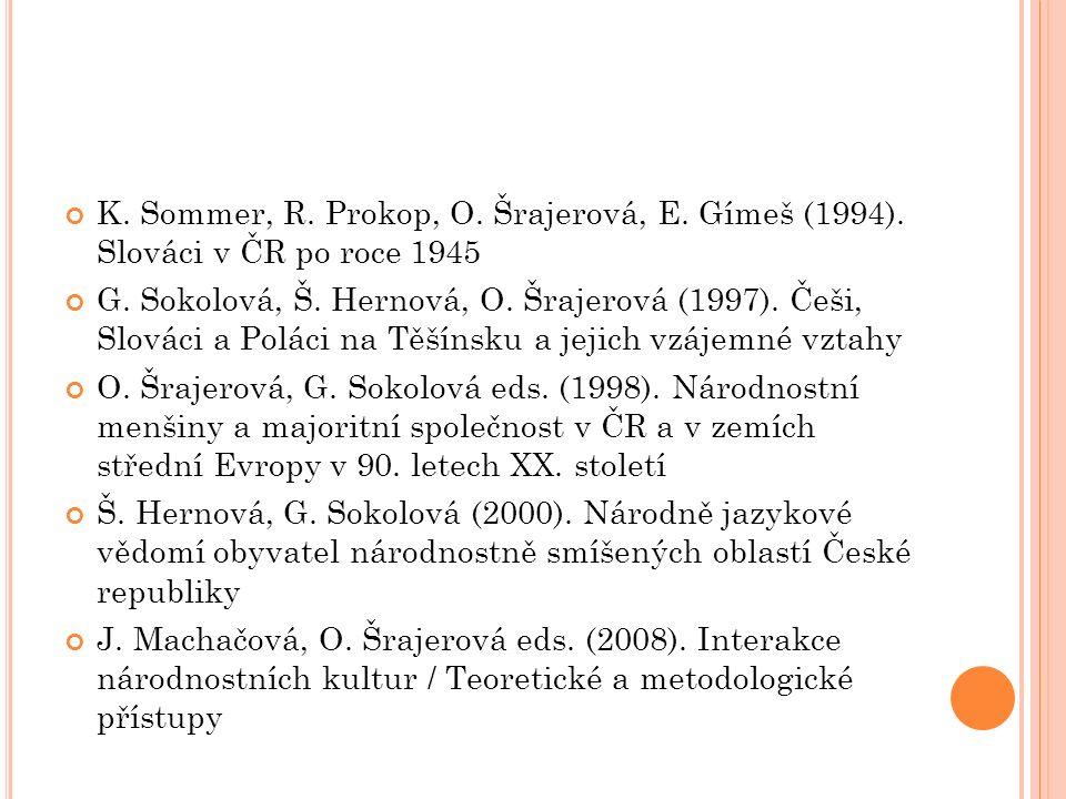 K. Sommer, R. Prokop, O. Šrajerová, E. Gímeš (1994). Slováci v ČR po roce 1945 G. Sokolová, Š. Hernová, O. Šrajerová (1997). Češi, Slováci a Poláci na