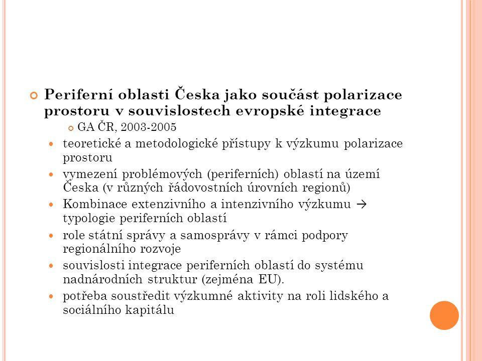 Periferní oblasti Česka jako součást polarizace prostoru v souvislostech evropské integrace GA ČR, 2003-2005 teoretické a metodologické přístupy k výz