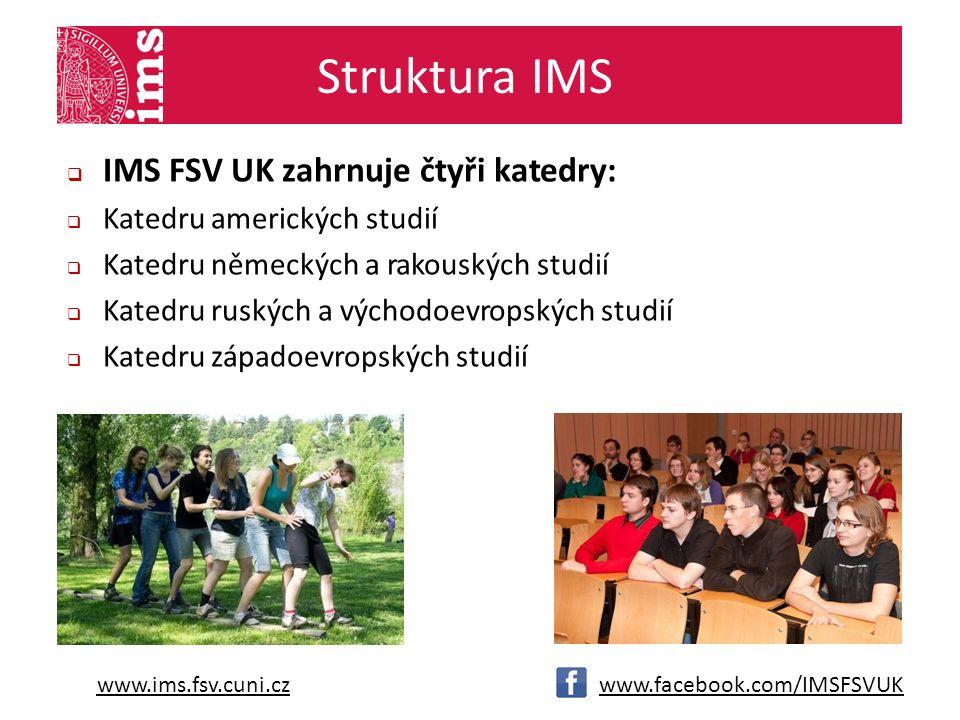 www.ims.fsv.cuni.czwww.facebook.com/IMSFSVUK Struktura IMS  IMS FSV UK zahrnuje čtyři katedry:  Katedru amerických studií  Katedru německých a rakouských studií  Katedru ruských a východoevropských studií  Katedru západoevropských studií