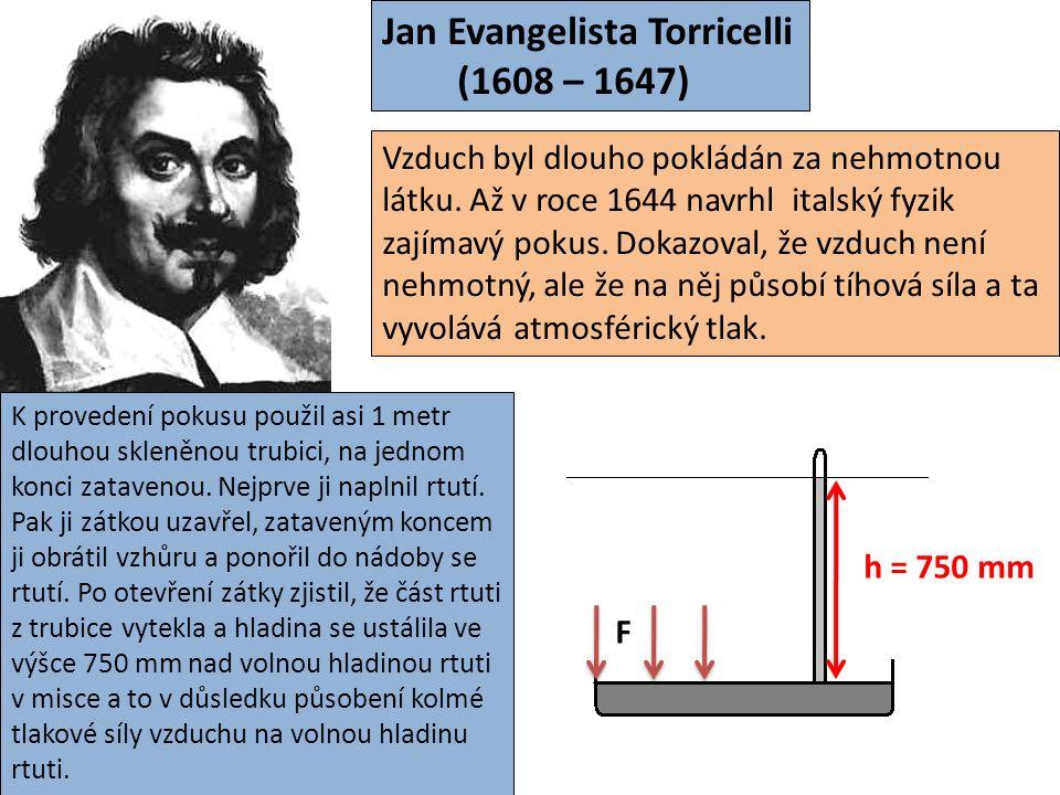 Jan Evangelista Torricelli (1608 – 1647) Vzduch byl dlouho pokládán za nehmotnou látku.