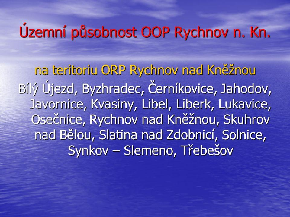 Územní působnost OOP Rychnov n. Kn. na teritoriu ORP Rychnov n. Kn.
