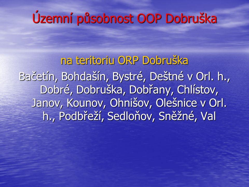 Územní působnost OOP Dobruška na teritoriu ORP Dobruška