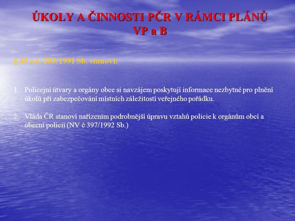  zajišťuje pohotovostní ochranu jaderných zařízení, která určí vláda České republiky, a podílí se na fyzické ochraně jaderného materiálu při jeho přepravě podle zvláštního zákona  kontroluje doklady o pojištění odpovědnosti za škodu způsobenou provozem vozidla podle zvláštního právního předpisu  při plnění svých úkolů postupuje policie také podle Parlamentem schválených, ratifikovaných a vyhlášených mezinárodních smluv, jimiž je Česká republika vázána.