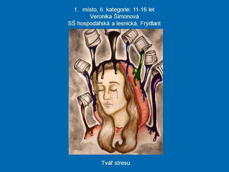 1.místo, II. kategorie: 11-16 let Veronika Šimonová SŠ hospodářská a lesnická, Frýdlant Tvář stresu