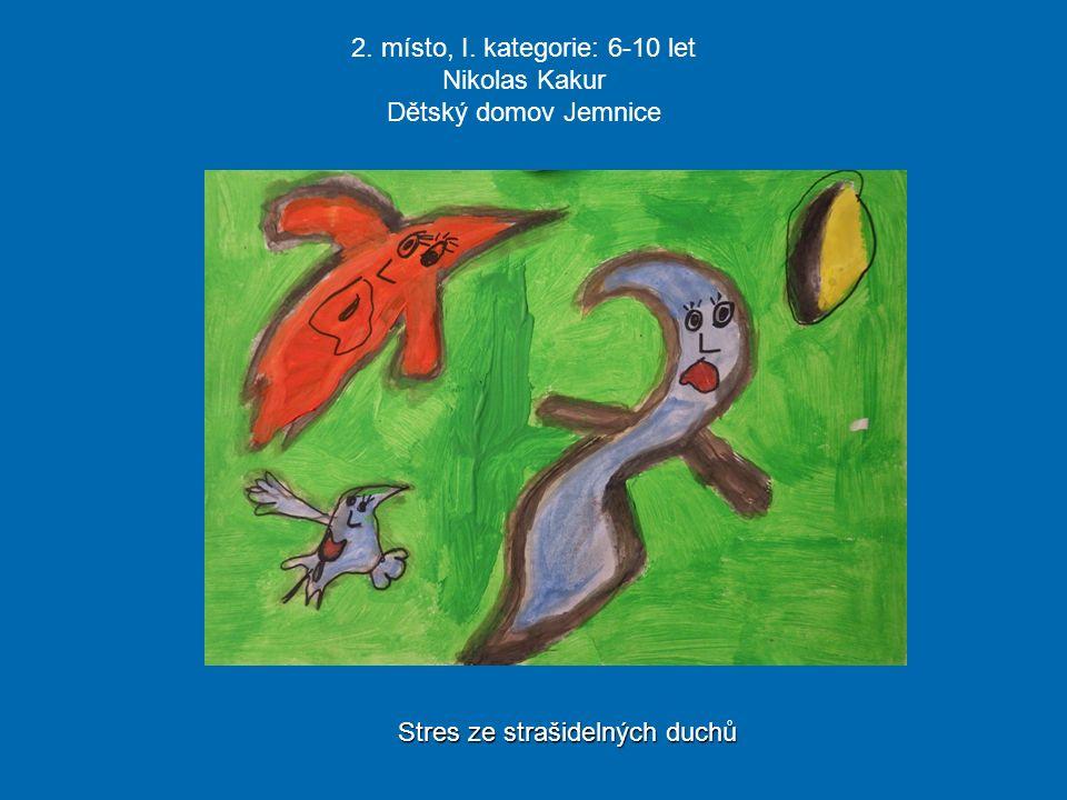 2. místo, I. kategorie: 6-10 let Nikolas Kakur Dětský domov Jemnice Stres ze strašidelných duchů