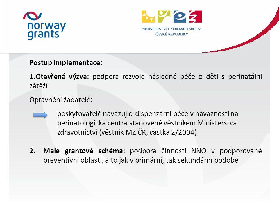 Postup implementace: 1.Otevřená výzva: podpora rozvoje následné péče o děti s perinatální zátěží Oprávnění žadatelé: poskytovatelé navazující dispenzární péče v návaznosti na perinatologická centra stanovené věstníkem Ministerstva zdravotnictví (věstník MZ ČR, částka 2/2004) 2.Malé grantové schéma: podpora činnosti NNO v podporované preventivní oblasti, a to jak v primární, tak sekundární podobě