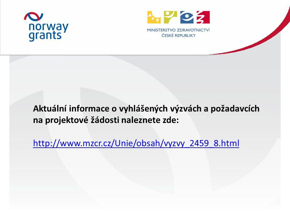 Aktuální informace o vyhlášených výzvách a požadavcích na projektové žádosti naleznete zde: http://www.mzcr.cz/Unie/obsah/vyzvy_2459_8.html