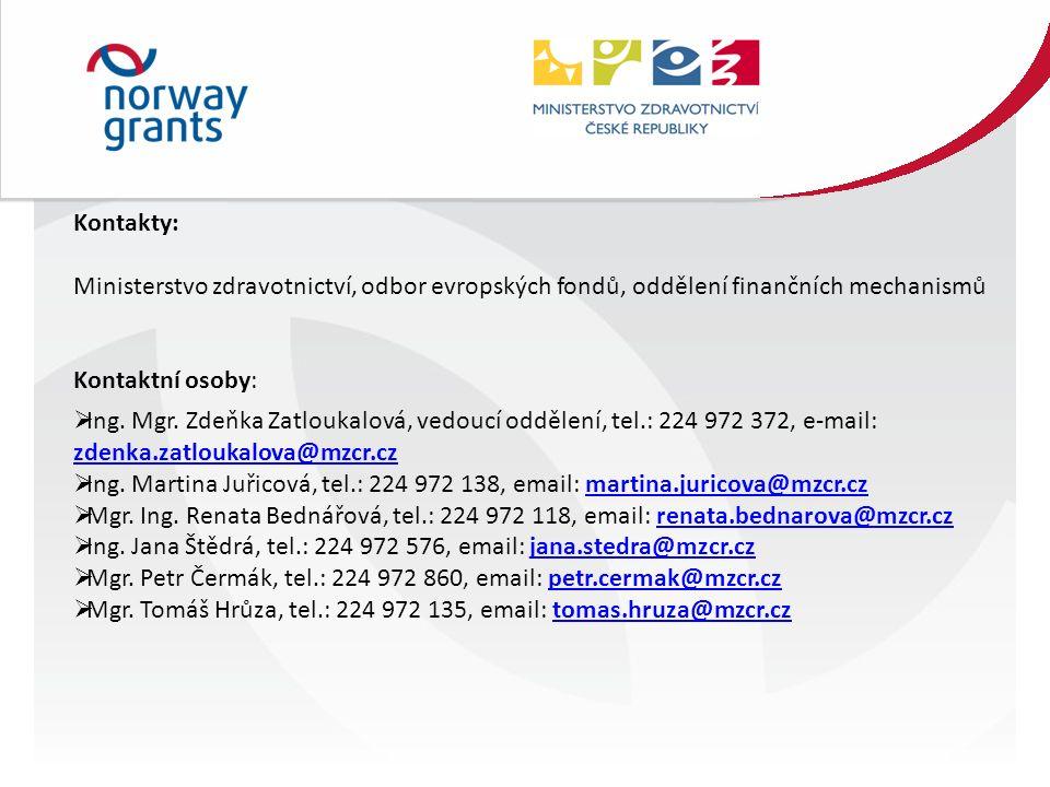 Kontakty: Ministerstvo zdravotnictví, odbor evropských fondů, oddělení finančních mechanismů Kontaktní osoby:  Ing.