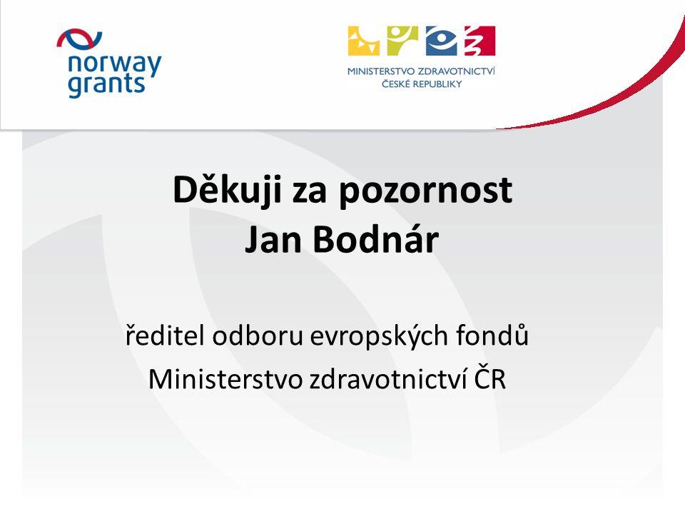 Děkuji za pozornost Jan Bodnár ředitel odboru evropských fondů Ministerstvo zdravotnictví ČR