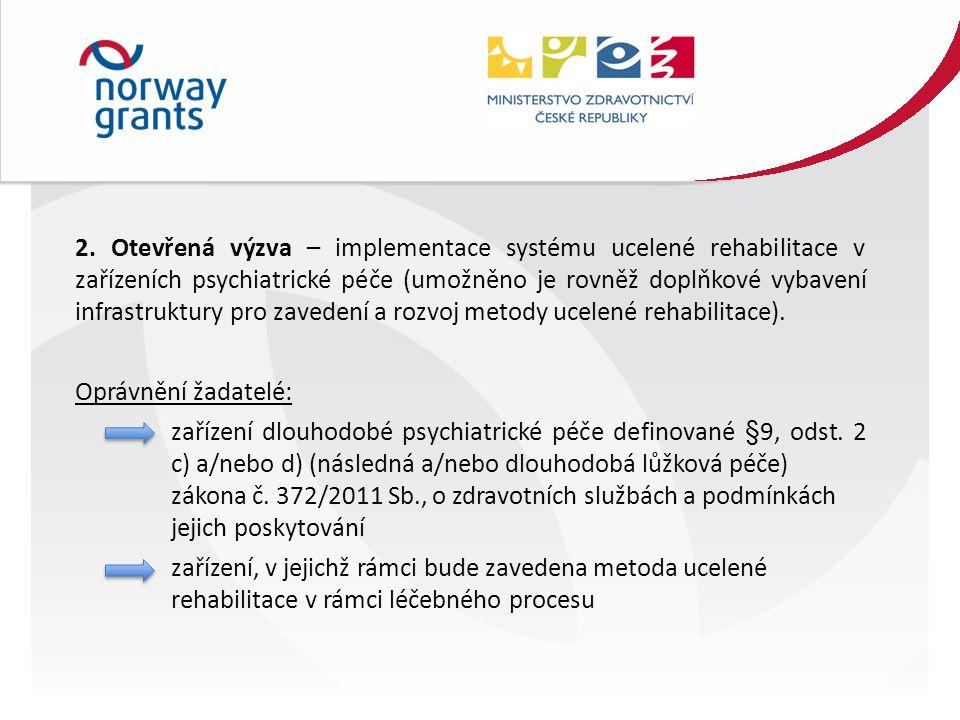 2. Otevřená výzva – implementace systému ucelené rehabilitace v zařízeních psychiatrické péče (umožněno je rovněž doplňkové vybavení infrastruktury pr