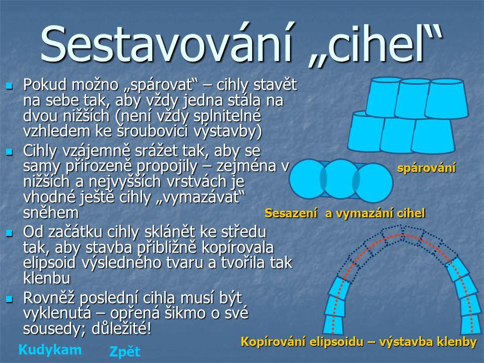 """d c2 vcvcvcvc s d c1 Velikost kýblu - cihly """"Cihly formované plastovými kýbly – komolé kužely Výška: v c = 40 cm Výška: v c = 40 cm Vrchní podstava: d c1 = 36 cm, r c1 = d c1 /2 = 18 cm Vrchní podstava: d c1 = 36 cm, r c1 = d c1 /2 = 18 cm Spodní podstava: d c2 = 38 cm, r c2 = d c2 /2 = 19 cm Spodní podstava: d c2 = 38 cm, r c2 = d c2 /2 = 19 cm Střední průměr (pro účely síly stěny iglú): d c = (d c1 + d c2 )/2 = (36 + 38)/2 = 37 cm Střední průměr (pro účely síly stěny iglú): d c = (d c1 + d c2 )/2 = (36 + 38)/2 = 37 cm Površka: s = √( v c 2 + ( r c1 - r c2 ) 2 ) = = √(40 2 + (38/2 – 36/2) 2 ) = 40,0 cm Površka: s = √( v c 2 + ( r c1 - r c2 ) 2 ) = = √(40 2 + (38/2 – 36/2) 2 ) = 40,0 cm Objem kýblu: V c = π."""