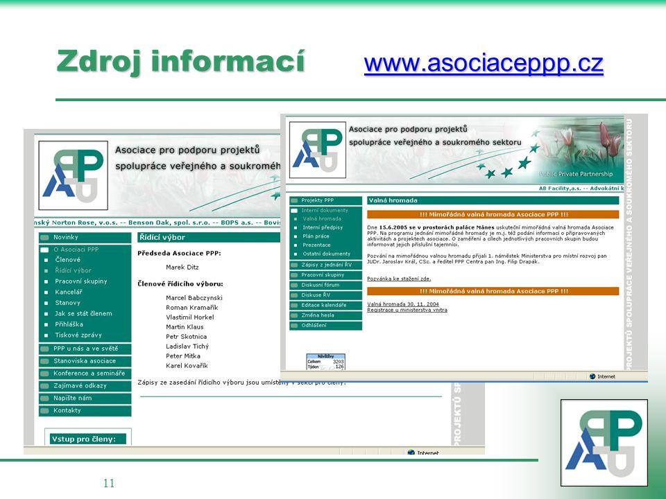 11 Zdroj informací www.asociaceppp.cz