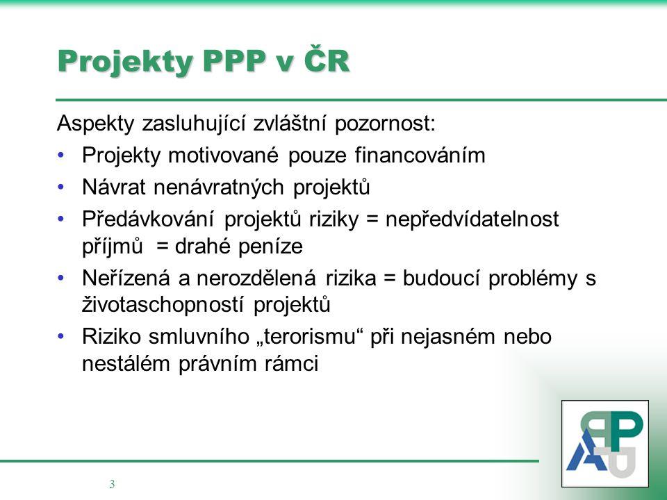3 Projekty PPP v ČR Aspekty zasluhující zvláštní pozornost: Projekty motivované pouze financováním Návrat nenávratných projektů Předávkování projektů